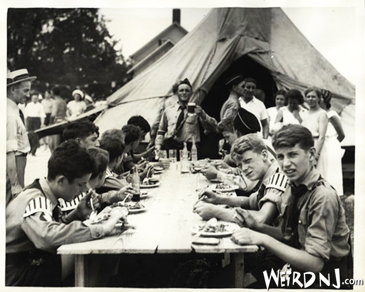 Hitler Youth at Camp Nordland 1939: The 'Heil Hitler!' toast to the Fuehrer is an important part of the meal for Jugendschaft members at Camp Nordland.